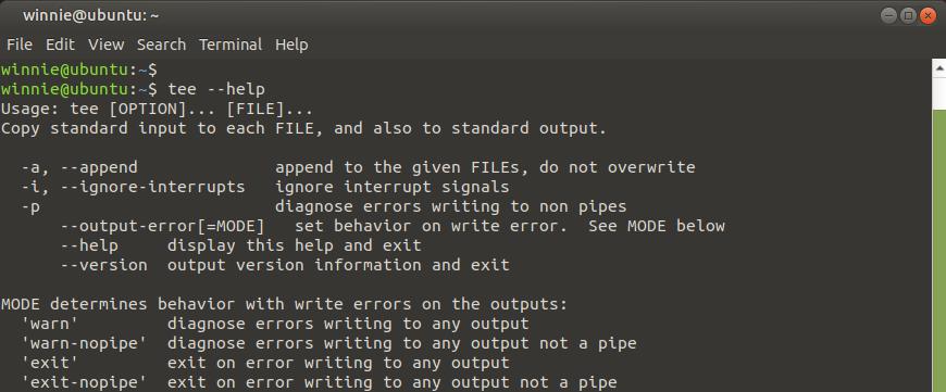 tee command help options