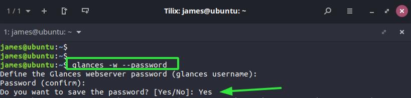 Password protect Glances web GUI