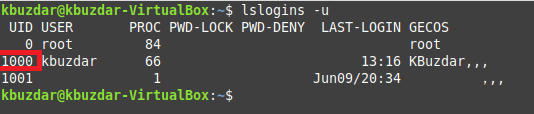 Using lslogins