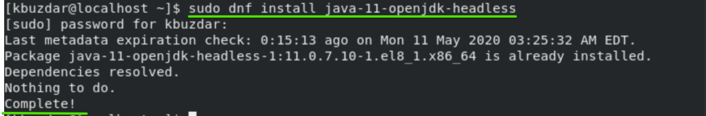 Install Java Headless