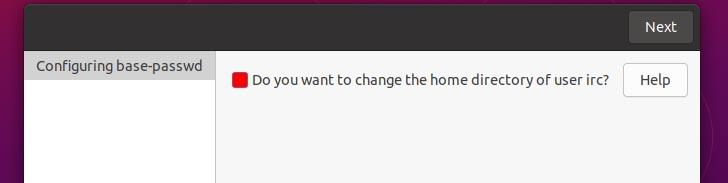Change home directory of irc user