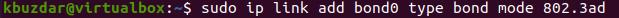 bond network on master node bond0 via the ip link command