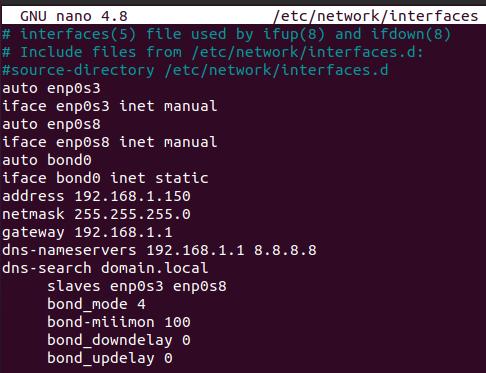 Network bonding configuration