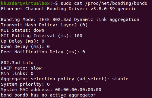 Show network bonding from proc/net/ virtual filesystem