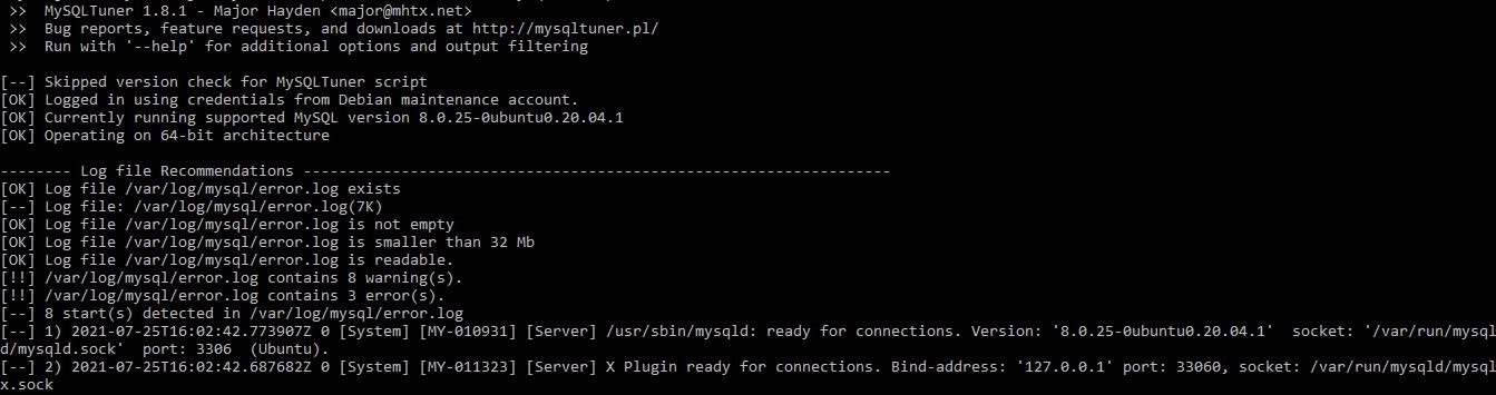 Optimize MySQL and MariaDB using mysqltuner