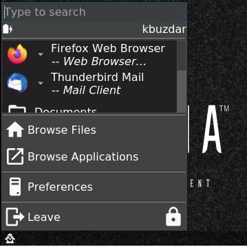 Lumina Desktop menu