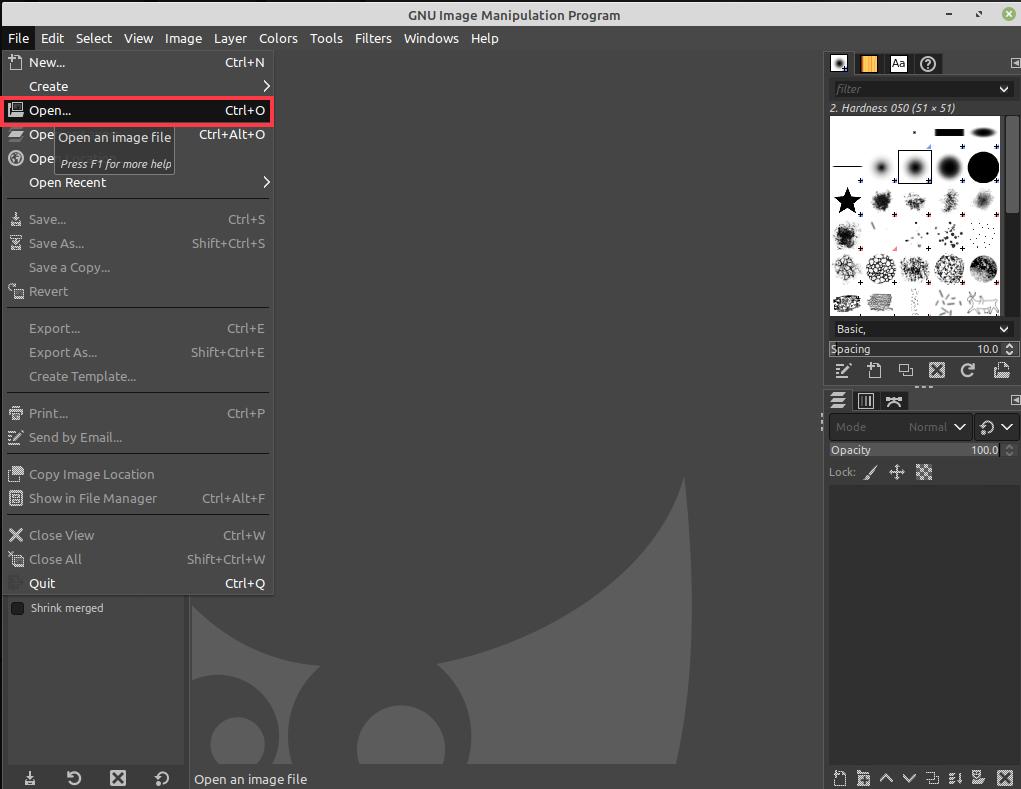 Open PDF in GIMP