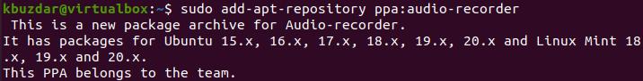 Install Audio Recorder PPA Repository