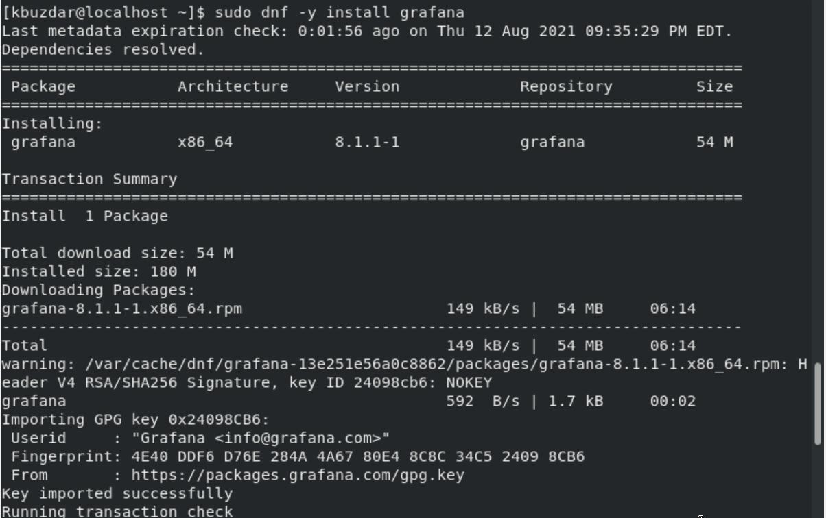 Use dnf command to install Grafana