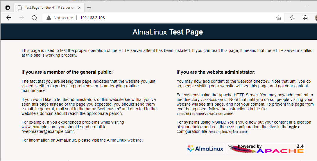 AlmaLinux web server test page