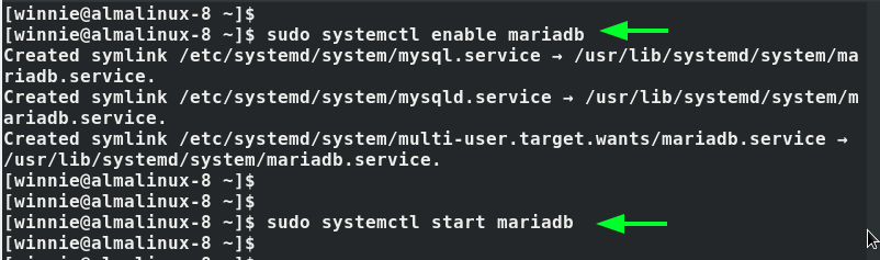 Enable mariaDB service