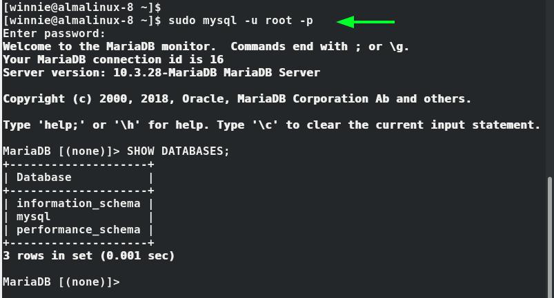 Log into MySQL