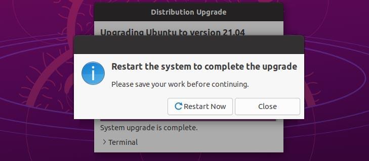 Restart system to complete upgrade