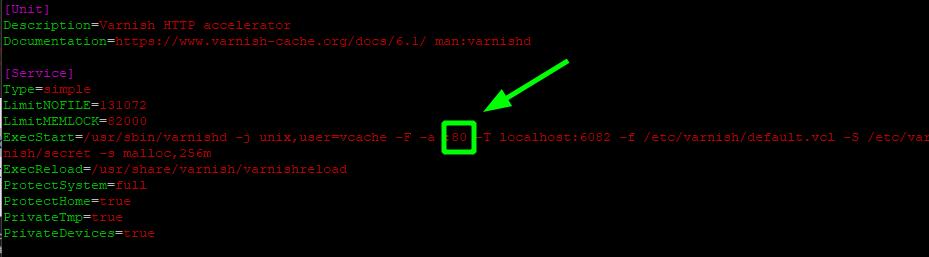 Configure varnish service file