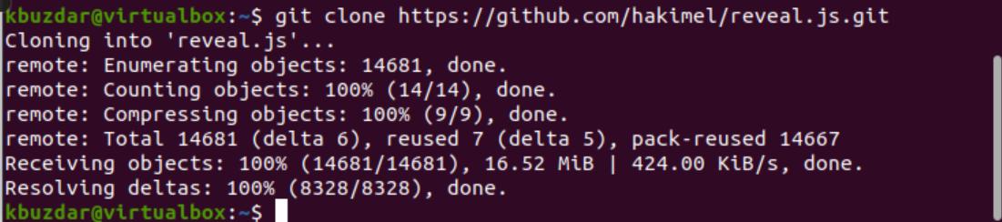 Download RevealJS using GIT