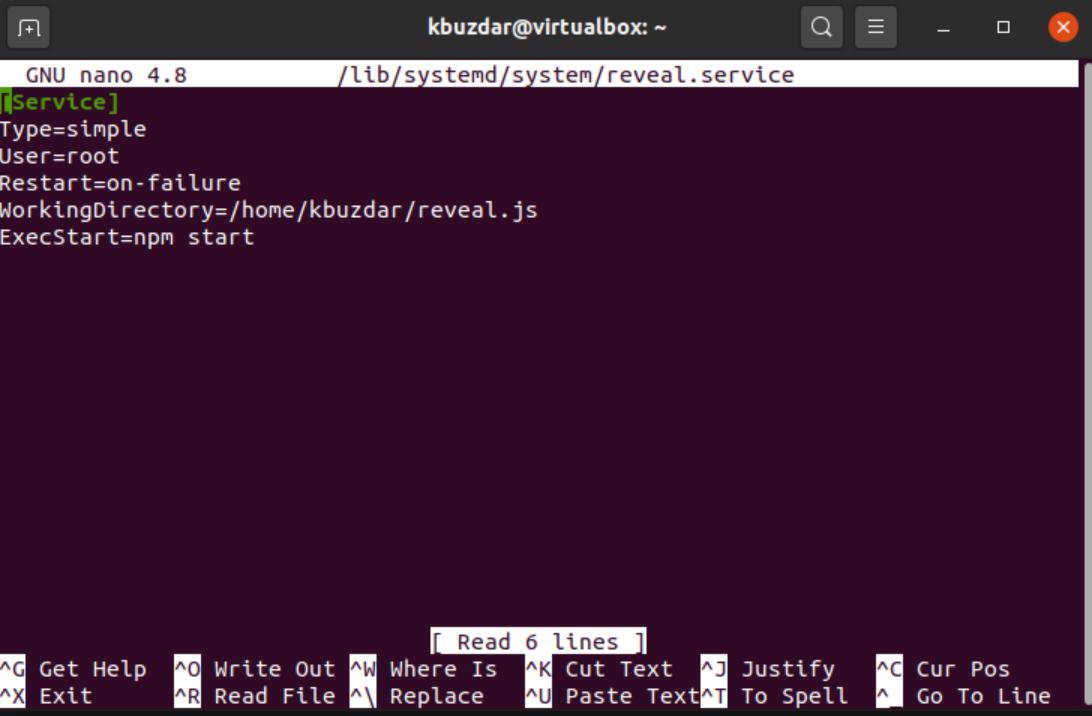 Configure Systemd service