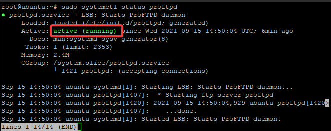 ProFTPD service is running
