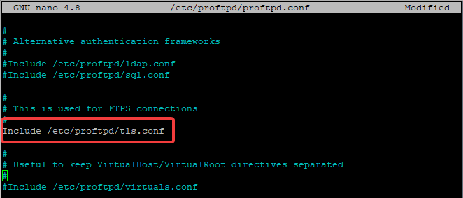 Configure TLS in ProFTPD