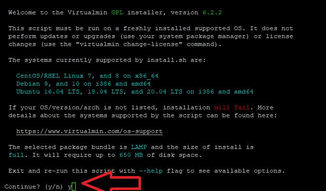 Start Virtualmin installation