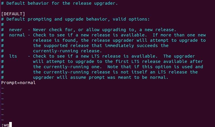 release-upgrades file