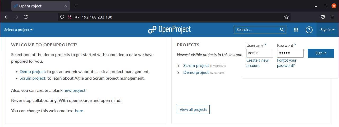 OpenProject dashboard