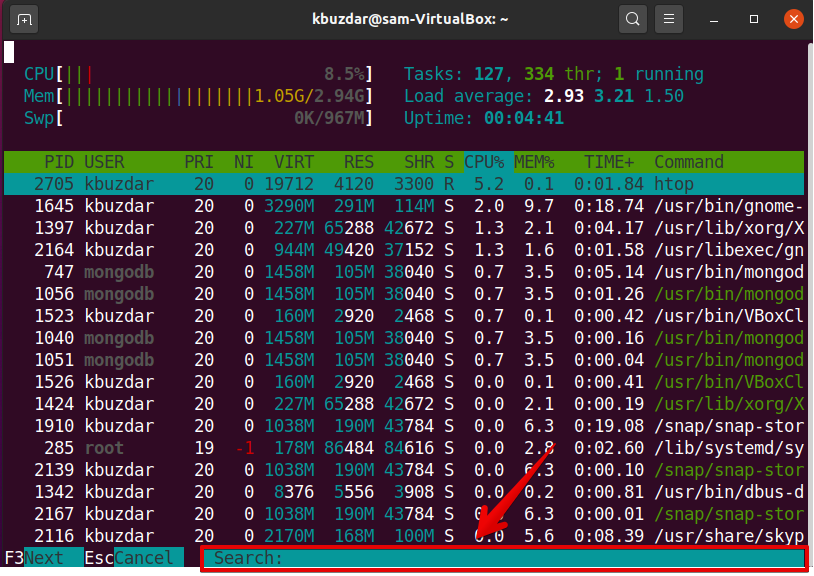 Search for processes in htop