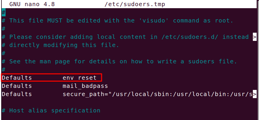 Editing sudo settings with visudo command
