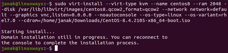 Install OS in KVM qemu image