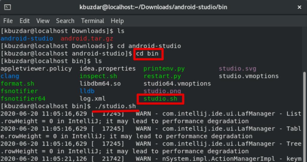Start Android Studio installation