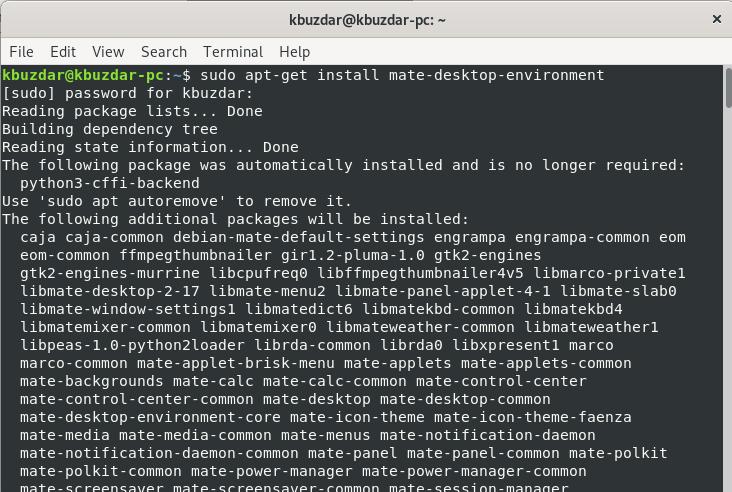 Install mate Desktop Environment